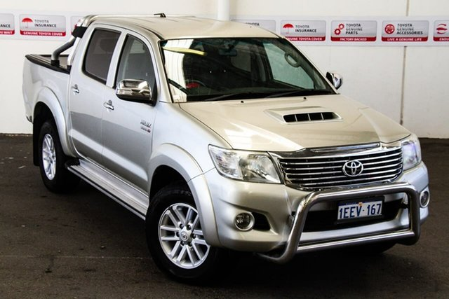 Pre-Owned Toyota Hilux KUN26R MY12 SR5 (4x4) Myaree, 2013 Toyota Hilux KUN26R MY12 SR5 (4x4) Sterling Silver 4 Speed Automatic Dual Cab Pick-up