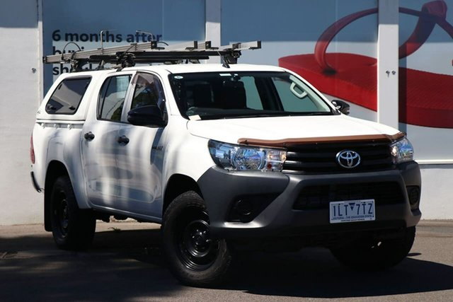 Pre-Owned Toyota Hilux GUN125R Workmate Double Cab Ferntree Gully, 2017 Toyota Hilux GUN125R Workmate Double Cab White 6 Speed Sports Automatic Utility
