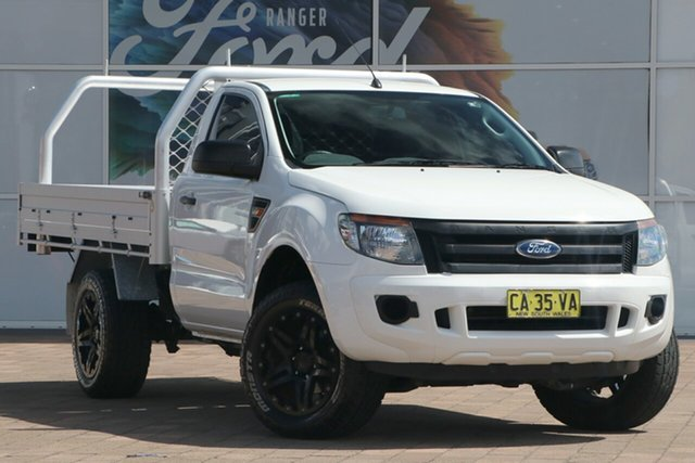 Used Ford Ranger PX XL Warwick Farm, 2014 Ford Ranger PX XL Cool White 6 Speed Sports Automatic Cab Chassis