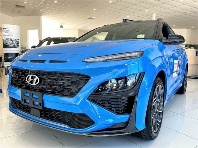 New Hyundai Kona Os.v4 MY21 N-Line D-CT AWD Premium Mount Gravatt, 2020 Hyundai Kona Os.v4 MY21 N-Line D-CT AWD Premium Surfy Blue Black Roof 7 Speed