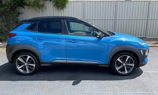 2018 Hyundai Kona OS MY18 Highlander D-CT AWD Blue 7 Speed Sports Automatic Dual Clutch Wagon.