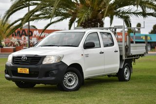 2013 Toyota Hilux TGN16R MY12 Workmate Double Cab 4x2 White 5 Speed Manual Utility.