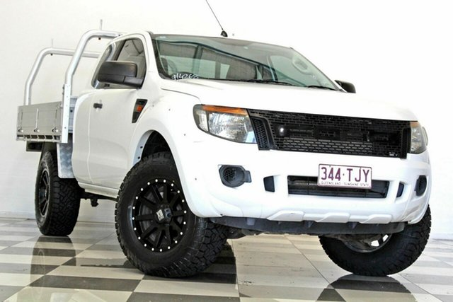 Used Ford Ranger PX XL 2.2 Hi-Rider (4x2) Burleigh Heads, 2013 Ford Ranger PX XL 2.2 Hi-Rider (4x2) White 6 Speed Automatic Super Cab Chassis