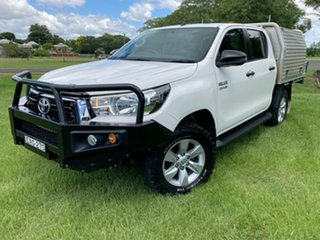 2018 Toyota Hilux GUN126R SR Double Cab Glacier White 6 Speed Manual Cab Chassis.