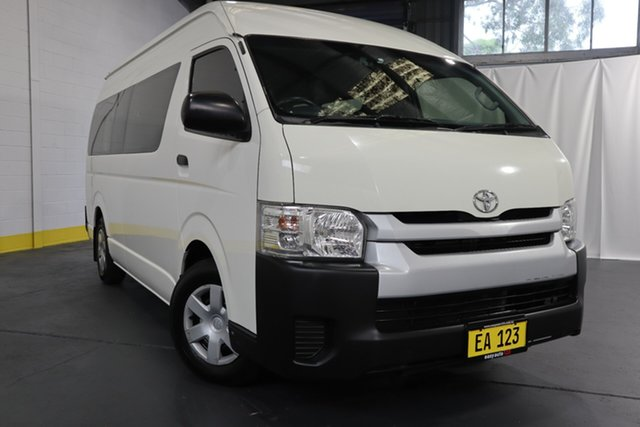 Used Toyota HiAce KDH223R Commuter High Roof Super LWB Castle Hill, 2017 Toyota HiAce KDH223R Commuter High Roof Super LWB White 4 Speed Automatic Bus