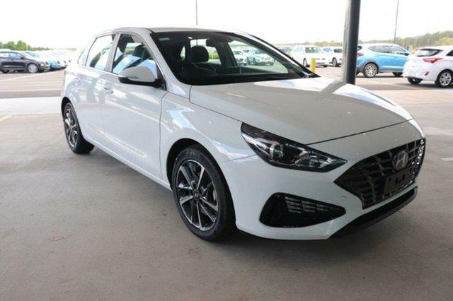 New Hyundai i30 PD.V4 MY21 Elite Mount Gravatt, 2021 Hyundai i30 PD.V4 MY21 Elite Polar White 6 Speed Sports Automatic Hatchback