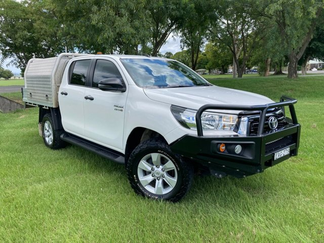 Used Toyota Hilux GUN126R SR Double Cab South Grafton, 2018 Toyota Hilux GUN126R SR Double Cab Glacier White 6 Speed Manual Cab Chassis