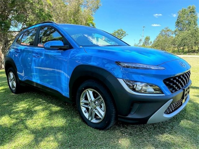 Demo Hyundai Kona Os.v4 MY21 2WD Mount Gravatt, 2021 Hyundai Kona Os.v4 MY21 2WD Surfy Blue 8 Speed Constant Variable Wagon