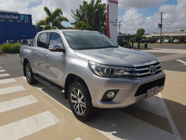 Pre-Owned Toyota Hilux GUN126R SR5 Double Cab Gladstone, 2016 Toyota Hilux GUN126R SR5 Double Cab Silver Sky 6 Speed Sports Automatic Utility