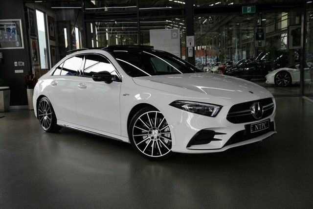 Used Mercedes-Benz A-Class A35 AMG SPEEDSHIFT DCT 4MATIC North Melbourne, 2020 Mercedes-Benz A-Class A35 AMG SPEEDSHIFT DCT 4MATIC White 7 Speed Sports Automatic Dual Clutch