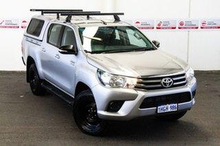 2017 Toyota Hilux GUN126R SR (4x4) Silver Sky 6 Speed Automatic Dual Cab Utility.