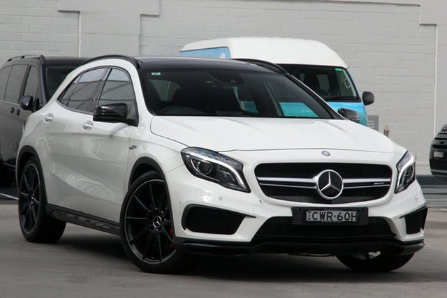 Used Mercedes-Benz GLA-Class X156 806MY GLA45 AMG SPEEDSHIFT DCT 4MATIC Brookvale, 2015 Mercedes-Benz GLA-Class X156 806MY GLA45 AMG SPEEDSHIFT DCT 4MATIC White 7 Speed