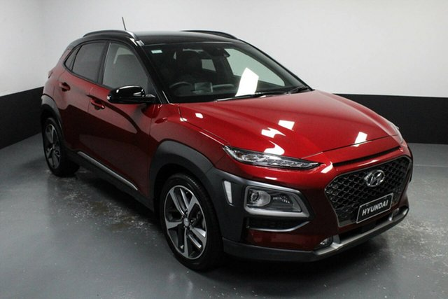 Used Hyundai Kona OS MY18 Highlander D-CT AWD Cardiff, 2018 Hyundai Kona OS MY18 Highlander D-CT AWD Red 7 Speed Sports Automatic Dual Clutch Wagon