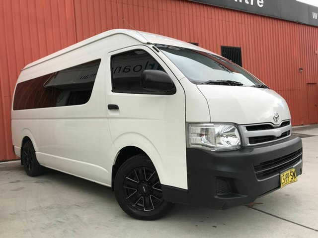 Used Toyota HiAce TRH223R MY12 Commuter High Roof Super LWB Molendinar, 2013 Toyota HiAce TRH223R MY12 Commuter High Roof Super LWB White 4 Speed Automatic Bus