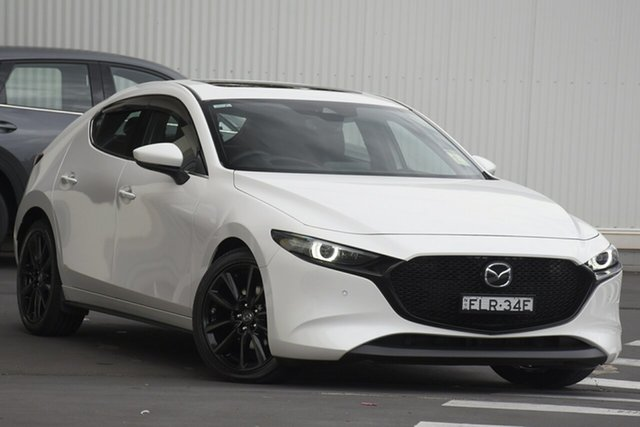 Demo Mazda 3 BP2HHA X20 SKYACTIV-Drive Astina Wollongong, 2020 Mazda 3 BP2HHA X20 SKYACTIV-Drive Astina Snowflake White Pearl 6 Speed Sports Automatic