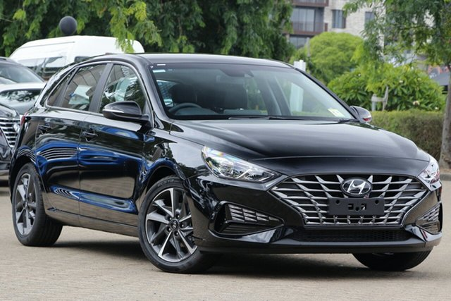 New Hyundai i30 PD.V4 MY21 Elite Moorooka, 2020 Hyundai i30 PD.V4 MY21 Elite Phantom Black 6 Speed Sports Automatic Hatchback
