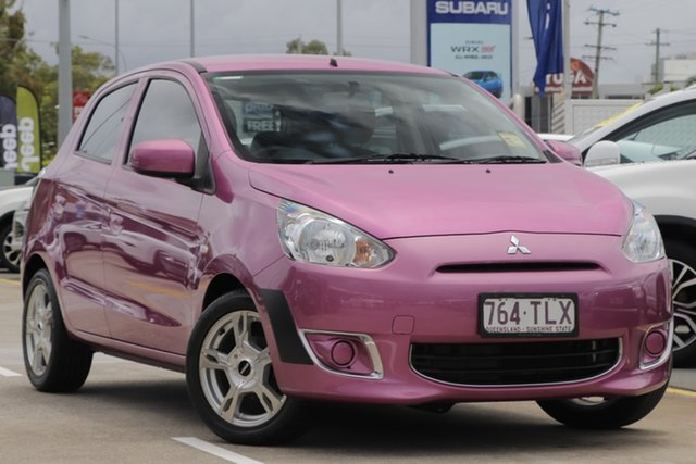 Used Mitsubishi Mirage LA MY14 ES Aspley, 2013 Mitsubishi Mirage LA MY14 ES Pink 5 Speed Manual Hatchback