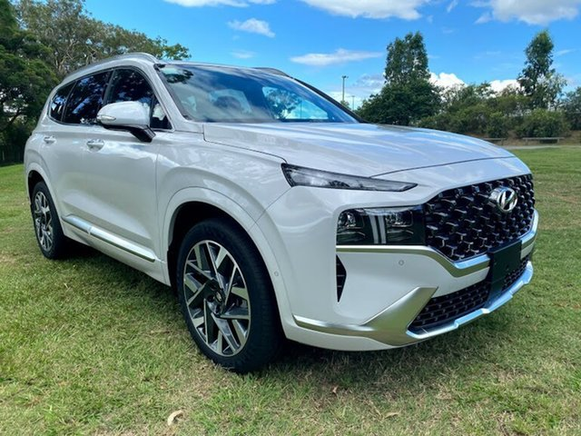 Demo Hyundai Santa Fe Tm.v3 MY21 Highlander Mount Gravatt, 2020 Hyundai Santa Fe Tm.v3 MY21 Highlander Glacier White 8 Speed Sports Automatic Wagon