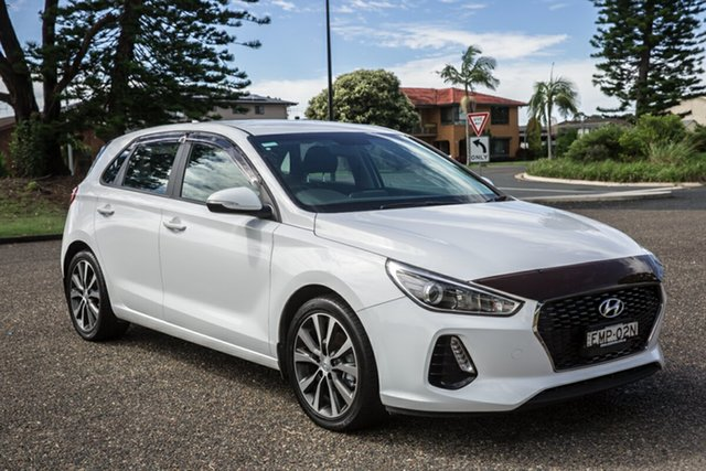 Used Hyundai i30 PD2 MY18 Active Port Macquarie, 2018 Hyundai i30 PD2 MY18 Active Polar White 6 Speed Sports Automatic Hatchback