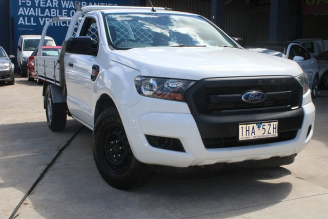 Used Ford Ranger PX XL 2.2 (4x2) West Footscray, 2015 Ford Ranger PX XL 2.2 (4x2) White 6 Speed Manual Cab Chassis