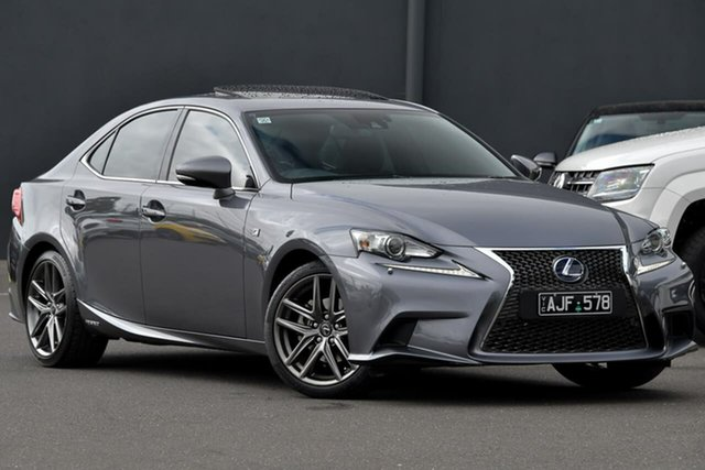 Used Lexus IS AVE30R IS300h F Sport Moorabbin, 2015 Lexus IS AVE30R IS300h F Sport Grey 1 Speed Constant Variable Sedan Hybrid