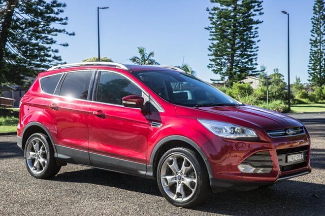 Used Ford Kuga TF MY16.5 Titanium AWD Port Macquarie, 2016 Ford Kuga TF MY16.5 Titanium AWD Ruby Red 6 Speed Sports Automatic Wagon