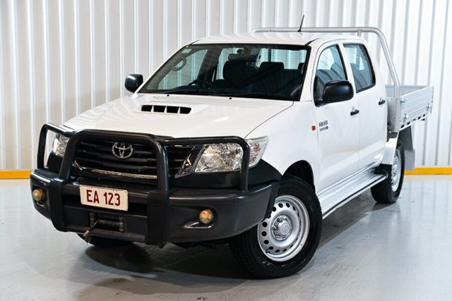 Used Toyota Hilux KUN26R MY14 SR Double Cab Hendra, 2015 Toyota Hilux KUN26R MY14 SR Double Cab White 5 Speed Automatic Utility