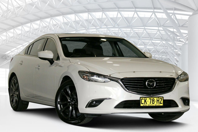 Used Mazda 6 6C MY15 GT Moorebank, 2016 Mazda 6 6C MY15 GT Snowflake White 6 Speed Automatic Sedan