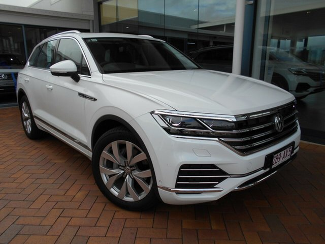 Demo Volkswagen Touareg CR MY20 190TDI Tiptronic 4MOTION Premium Toowoomba, 2019 Volkswagen Touareg CR MY20 190TDI Tiptronic 4MOTION Premium Pure White 8 Speed Sports Automatic