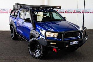 2017 Toyota Hilux GUN126R SR (4x4) Nebula Blue 6 Speed Automatic Dual Cab Utility.