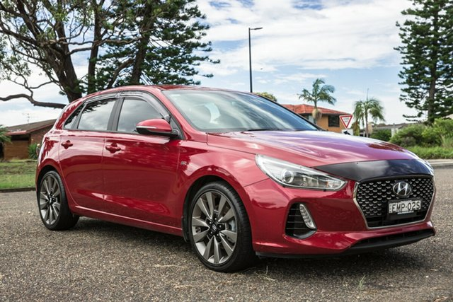 Used Hyundai i30 PD MY18 SR D-CT Port Macquarie, 2017 Hyundai i30 PD MY18 SR D-CT Fiery Red 7 Speed Sports Automatic Dual Clutch Hatchback
