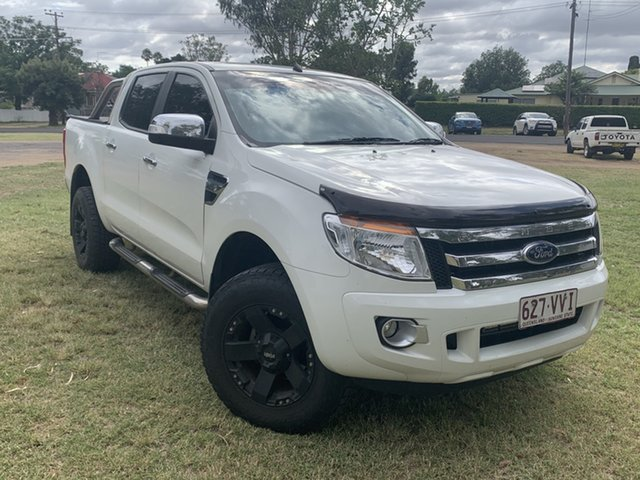 Pre-Owned Ford Ranger PX XLT Double Cab Moree, 2014 Ford Ranger PX XLT Double Cab White 6 Speed Sports Automatic Utility