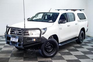 2017 Toyota Hilux GUN126R SR Double Cab White 6 Speed Sports Automatic Utility.