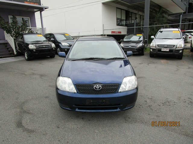 Used Toyota Corolla ZZE122R Ascent Seca Coorparoo, 2003 Toyota Corolla ZZE122R Ascent Seca Blue 5 Speed Manual Hatchback