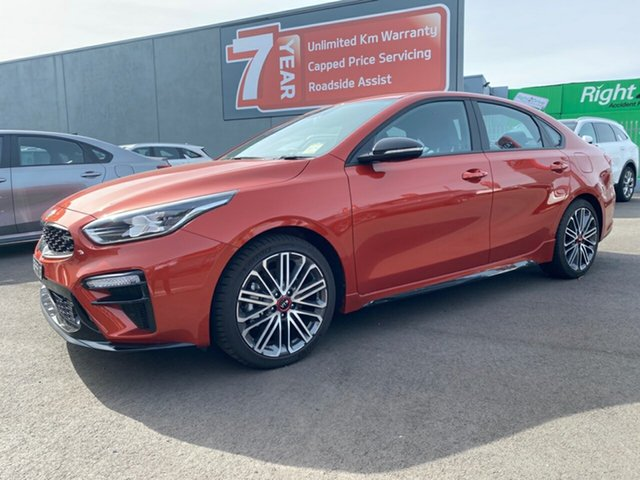 Demo Kia Cerato BD MY21 GT DCT Cheltenham, 2020 Kia Cerato BD MY21 GT DCT Sunset Orange 7 Speed Sports Automatic Dual Clutch Sedan