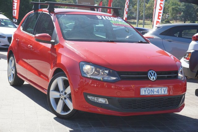 Used Volkswagen Polo 6R MY12.5 77TSI Comfortline Phillip, 2012 Volkswagen Polo 6R MY12.5 77TSI Comfortline Red 6 Speed Manual Hatchback