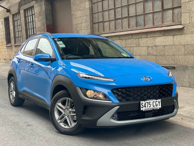 Demo Hyundai Kona Os.v4 MY21 2WD Cheltenham, 2020 Hyundai Kona Os.v4 MY21 2WD Surfy Blue 8 Speed Automatic Wagon