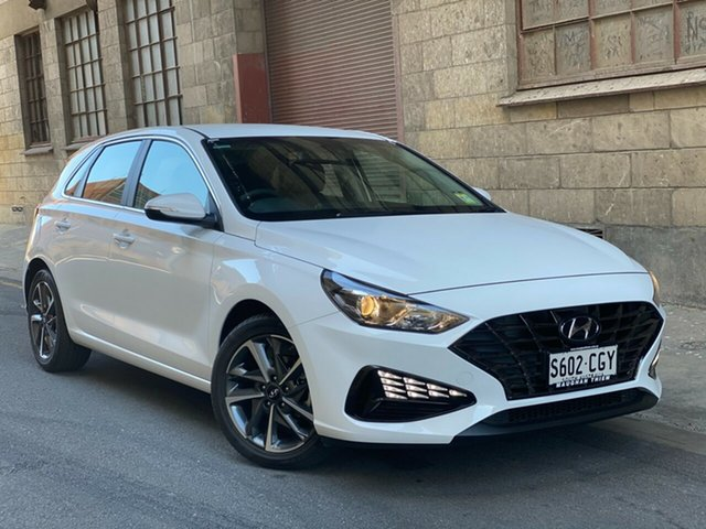 Demo Hyundai i30 PD.V4 MY21 Active Cheltenham, 2020 Hyundai i30 PD.V4 MY21 Active Polar White 6 Speed Automatic Hatchback