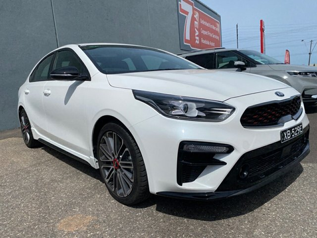 Demo Kia Cerato BD MY21 GT DCT Cheltenham, 2020 Kia Cerato BD MY21 GT DCT Snow White Pearl 7 Speed Sports Automatic Dual Clutch Sedan