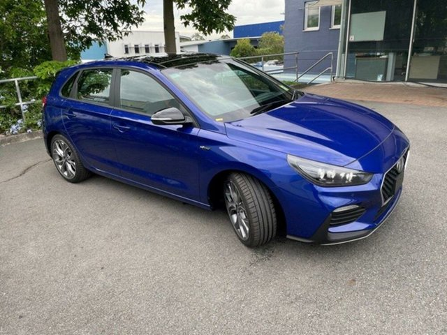 New Hyundai i30 PD.V4 MY21 N Line D-CT Premium Springwood, 2020 Hyundai i30 PD.V4 MY21 N Line D-CT Premium Intense Blue 7 Speed Sports Automatic Dual Clutch