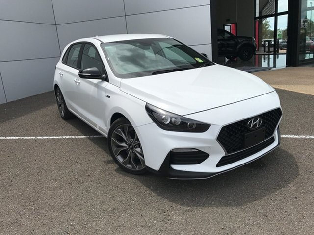 New Hyundai i30 PD.V4 MY21 N Line D-CT Gladstone, 2020 Hyundai i30 PD.V4 MY21 N Line D-CT Polar White 7 Speed Sports Automatic Dual Clutch Hatchback