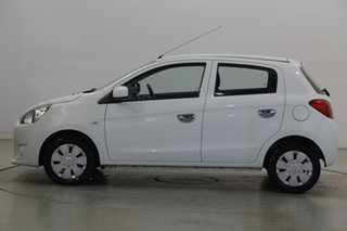 2014 Mitsubishi Mirage LA MY15 ES White 5 Speed Manual Hatchback.