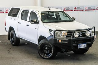 2015 Toyota Hilux GUN125R Workmate Double Cab Glacier White 6 Speed Manual Utility.