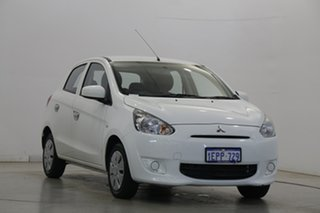 2014 Mitsubishi Mirage LA MY15 ES White 5 Speed Manual Hatchback