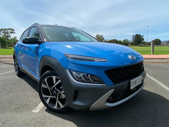 Demo Hyundai Kona Os.v4 MY21 Highlander 2WD Nailsworth, 2020 Hyundai Kona Os.v4 MY21 Highlander 2WD Surfy Blue + Black R 8 Speed Constant Variable Wagon