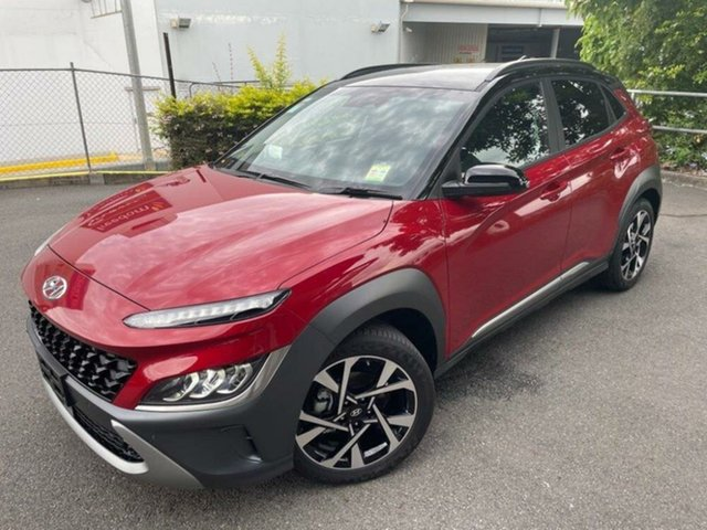 New Hyundai Kona Os.v4 MY21 Highlander 2WD Springwood, 2020 Hyundai Kona Os.v4 MY21 Highlander 2WD Pulse Red & Black Roof 8 Speed Constant Variable Wagon