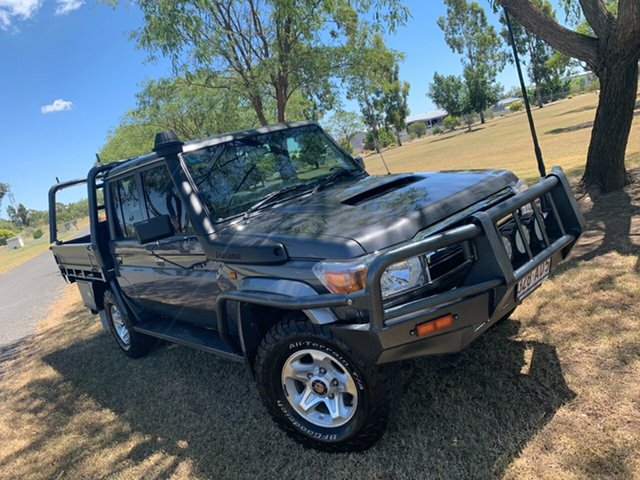 Used Toyota Landcruiser VDJ79R MY13 GXL Double Cab Moree, 2013 Toyota Landcruiser VDJ79R MY13 GXL Double Cab Graphite 5 Speed Manual Cab Chassis