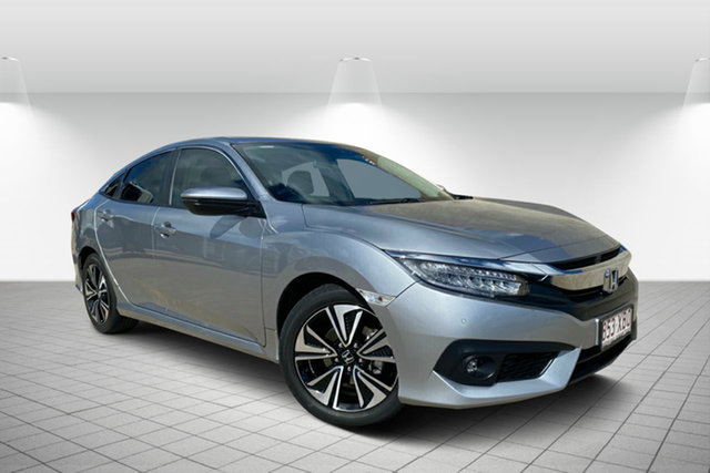 Used Honda Civic 10th Gen MY16 VTi-LX Hervey Bay, 2017 Honda Civic 10th Gen MY16 VTi-LX Silver 1 Speed Constant Variable Sedan