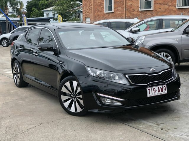 Used Kia Optima TF MY12 Platinum Chermside, 2012 Kia Optima TF MY12 Platinum Black 6 Speed Sports Automatic Sedan