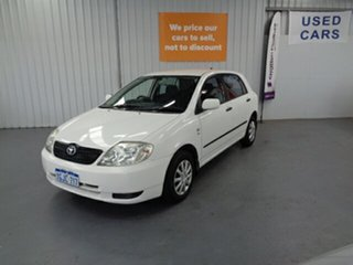 2002 Toyota Corolla ZZE122R Ascent White 5 Speed Manual Hatchback.